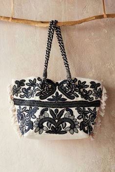Anthropologie Teola Tote Intricate Embroidered Beaded Detailing White Blue $148 #Anthropologie #TotesShoppers