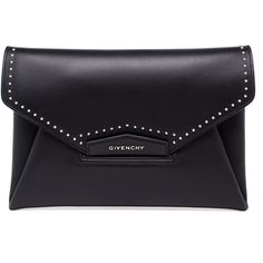 Givenchy Studded Leather Envelope Clutch found on Polyvore