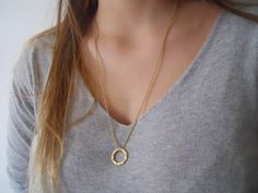 Hammered Ring Long Necklace. Layering Ring Necklace