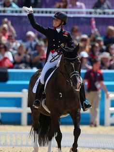 Charlotte Dujardin of Great Britain riding Valegro competes in the Dressage Grand Prix on Day 7 of the London 2012 Olympic Games at Greenwich Park.