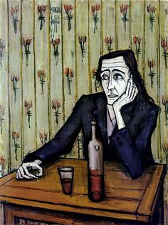 Bernard Buffet // Femme au verre de vin - 1955 // huile sur toile 130 x 97 cm ©ADAGP