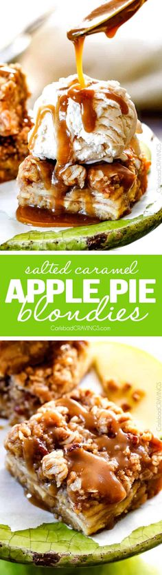 Caramel Apple Pie Blondies - these are amazing and so much easier than apple pie!  A soft buttery blondie base topped with apple filling and topped with pecan crumble and caramel!   via @carlsbadcraving