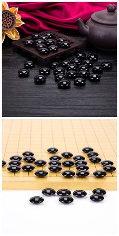 Obsidian stone beads for chess. Double sides: 22x10mm
