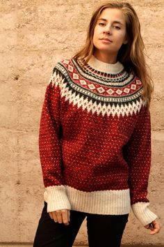 Something similar to this. Nordic/fair isle inspired. Nothing ...