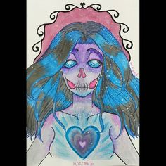 . This is.... I don't know. My brain ordered me to draw her. #woman #skeleton #heart #blue #purple