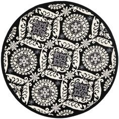 Hand-hooked-Chelsea-Heritage-Black-Wool-Rug--Round