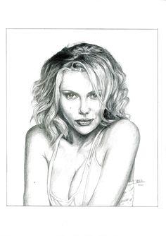 Scarlett Johanson. Lápiz de color. Obra de Pablo López Muñoz