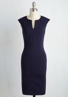 Now for Our Leader Presentation Dress. They didnt name you manager for nothin, and this navy blue wiggle dress highlights the organization and ambition that make you so standout. #blue #modcloth