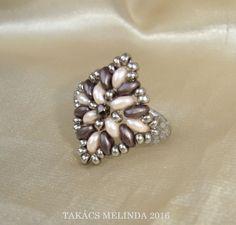pastell pink - dark brown superduo beaded ring