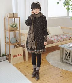 Mori style. [tights, boots, dresses, scarves]