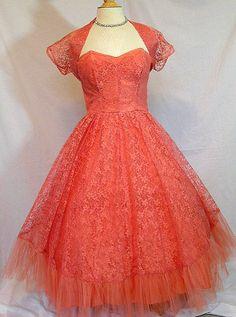 Vintage 1950s Tulle Party Prom Dress with Matching Bolero / Shrug Jacket