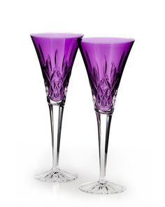 H5AG7 Waterford Lismore Jewels Amethyst Toasting Flutes, Set of 2