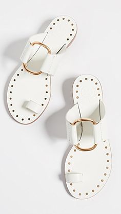 Great for Tory Burch Ravello Studded Sandals Womens Fashion Shoes from top store Toe Ring Sandals, Shoes Flats Sandals, Cute Sandals, Sport Sandals, Flat Sandals, Cute Shoes, Me Too Shoes, Women's Shoes, Studded Sandals
