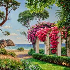 Jesús Fernández, pintor: Jardín mediterráneo