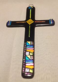 Fused glass cross made for my grandson James
