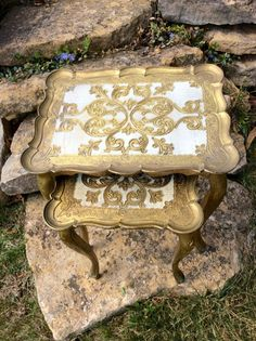 Vintage Italian Gold Ornate Nesting Tables by YellowHouseDecor