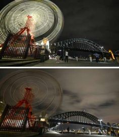 The ferris wheel at Luna Park and Sydney Harbour Bridge before and after being plunged into darkness for the Earth Hour environm