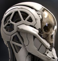 Inspiration for the robot skull, the pieced metallic bits stood out to me as keeping human form but also keeping to robotic looks Futuristic Armour, Futuristic Art, Robot Design, Helmet Design, Armor Concept, Concept Art, Science Fiction, Humanoid Robot, Arte Robot