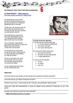 En France tout finit par des chansons 6 French Teaching Resources, Teaching French, French Worksheets, French Songs, Core French, French Grammar, French Classroom, French Teacher, French Immersion