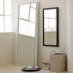 West Elm 1599851 Floating Wood Floor Mirror, White Lacquer - Mirrors - Wall Decor - Home Decor Mirror Wall Art, Mirror Tiles, Floor Mirrors, Frame Mirrors, Salon Mirrors, West Elm, Plank, Wood Molding, Wall Carpet