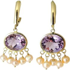 Amethyst 14k Gold Pearl Dangle Earrings 8 CARATS ! Offered by Premier-Antiques a Ruby Lane Shop