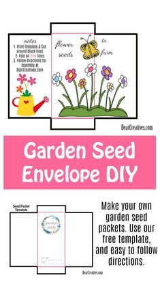 Seed Packet Template Free Printable and DIY For Your Gardening Seeds These are easy to make seed envelopes Full instructions on how to make these envelopes for your flowe. Herb Seeds, Garden Seeds, Templates Printable Free, Free Printables, Seed Packet Template, Diy Mother's Day Crafts, Seed Packaging, Diy Envelope, Seed Packets