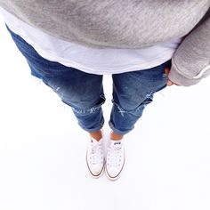 grey and white with jeans and chuck taylors