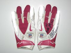 45438a08c Garrett McIntyre New York Jets Game Worn   Signed Pink Breast Cancer  Awareness Nike Gloves - Worn In Monday Night Football Win Vs Miami Dolphins