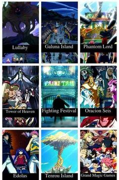 """Arcs in Fairy Tail. But they forgot the """"filler arc"""" with the New Oracion Seis, Zentopia and The Legion, and The Infinity Clock. Which takes place after the 7 year time span on Tenrou Island."""