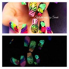 Glow in the dark nails  Styliztik nailz by Sarah  Albuquerque NM