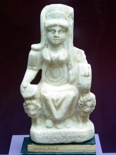 A small limestone statue of the very ancient Anatolian mother goddess Cybele. She was the goddess of fertility and was attended by lions — note the lions on both the right and left sides of her throne. Adopted by the Romans, her cult spread throughout the Roman Empire