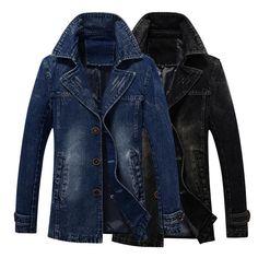 Men s Denim Jacket slim Coat Winter man long bomber jacket turn down collar windbreaker outerwear. Click visit to buy