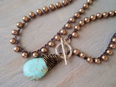 Dainty Pearl crochet necklace - RainDrop - Thai silver front toggle necklace turquoise wire wrapped teardrop summer boho