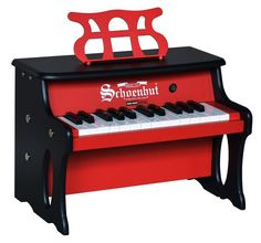 25 Key Two-Toned Red & Black Digital Tabletop Piano