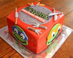 Teenage Mutant Ninja Turtles cake for one of the coolest lil dudes!! This is an 8in square cake, all homemade buttercream frosting and homemade candy clay details! All edible! http://www.facebook.com/angelas.cakes2011