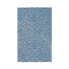Baxter Wool & Viscose Area Rug featuring polyvore, home, rugs, midnight blue, handmade wool rugs, patterned rugs, navy wool rug, navy rug and navy area rug