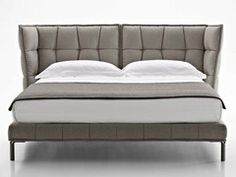 Fabric double bed with upholstered headboard HUSK | Bed - B&B Italia
