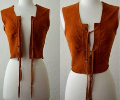 - Vintage Native Indian Hippie Deerskin Fringe Vest - by RedLightVintageShop