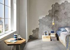 Grijze betonlook met bijpassende hexagone, waaronder met decor (29) Tegelhuys