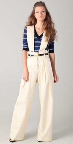 Wide leg pants with suspenders.