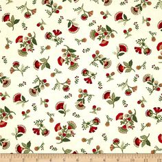 Timeless Treasures Jasmine Small Tossed Floral Cream from @fabricdotcom  Designed for Timeless Treasures, this cotton print is perfect for quilting, apparel and home decor accents. Colors include green, red, gold, and cream.