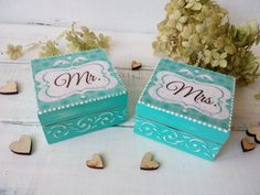Mr Mrs wedding ring box Set of 2 wedding box His Hers Wooden box for ring Personalize wedding box Bearer bridal box Cottage Chic wedding Shabby wedding Blue wedding box     A set of two wedding blue boxes for new mr and mrs. Boxes made of natural wood. Decorated in decoupage technique with the use of three-dimensional elements, ornament. Inside decorated with lace. The top cover of your wedding date can be marked inside the box.  The box can be cleaned with a damp cloth.  All materials used…