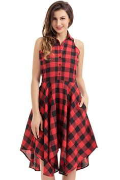 Robe Patineuse Chemise Rouge Noir Denim Damier Sans Manches MB61513-3 – Modebuy.com