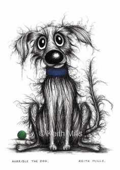 Horrible the dog Print download Scruffy stinky shabby pooch mutt hound doggy with miserable face in blue collar Unhappy pup needing love by KeithMills on Etsy