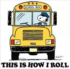 Snoopy school bus driver