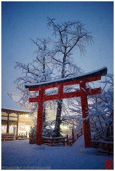 winter in Shimogamo shrine. kyoto,japan