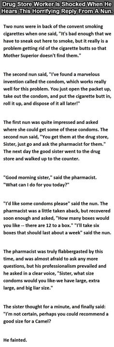 Drug Store Worker Gets Horrifying Question From A Nun. This Is Perfect.