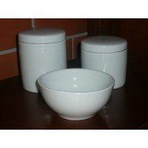 Kit Higiene Porcelana Bebe Molhadeira Potes Algodao Cotonete