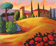 Soleil de Toscane par Louise Marion - Louise Marion, artiste peintre, paysage urbain, Quebec, couleurs