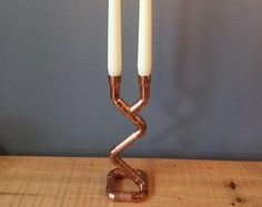 Copper pipe candelabra / candlestick holder with 2 arms by eNanBee